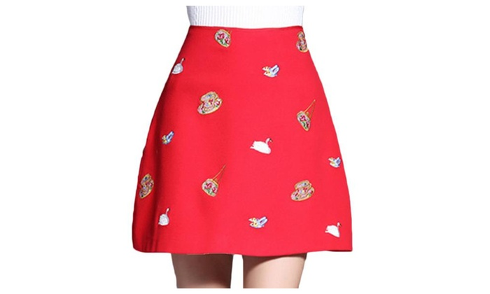 Women's A Line Mid Rise Embroidered Straight Hem Skirts