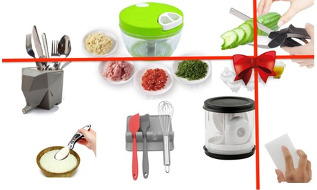 8-Pcs Kitchen Gadgets Gift Set: Burger Press, Chopper, Scissors, Holder And More
