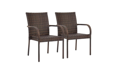 Patio Outdoor Wicker Set of 2 Stackable Dining Chairs - Brown 21940d1f-b73c-45b0-b454-2441a7a38bf5