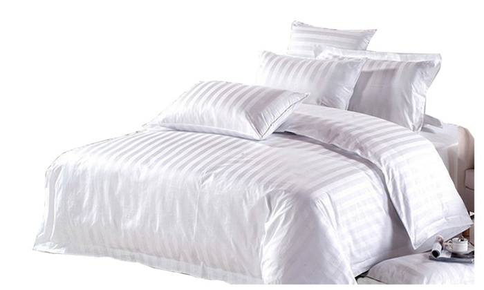 Riho 6 Piece 100% Pima Cotton Hotel White Bedding Sets Bed Sheets ...