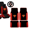 15 Piece Red and Black Superman Stitched Logo Seat Cover Gift Set