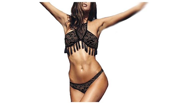 Women's Tassel High Neck Bikini Set
