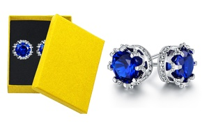 Lab-Created Sapphire Crown Stud Earrings by Peermont