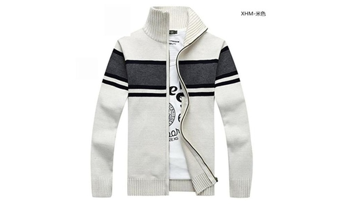 Men's Striped Cardigan Sweater...