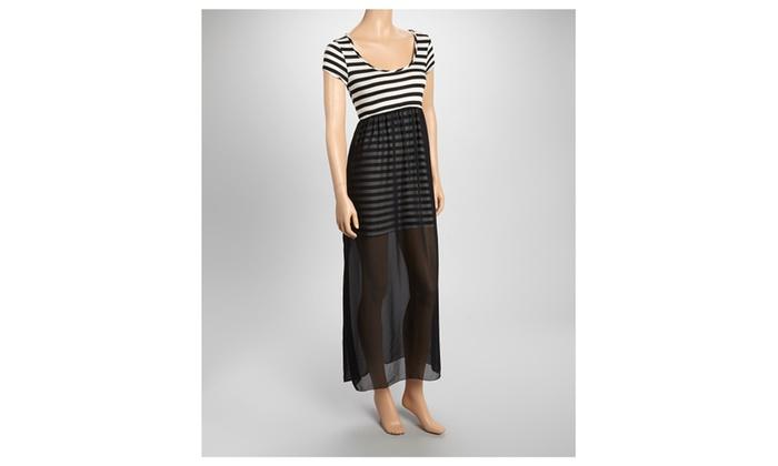 Round Neck Striped-top Over Chiffon Bottom Maxi Dress