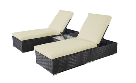 3 Piece Wicker Rattan Chaise Lounge Chair Set Patio Steel Furniture 71689b46-4c55-45c7-8781-545539bfe1b7