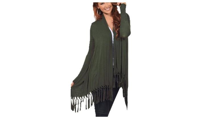 Women's Long Sleeve Classic Tassels Open Front Nylon Jacket