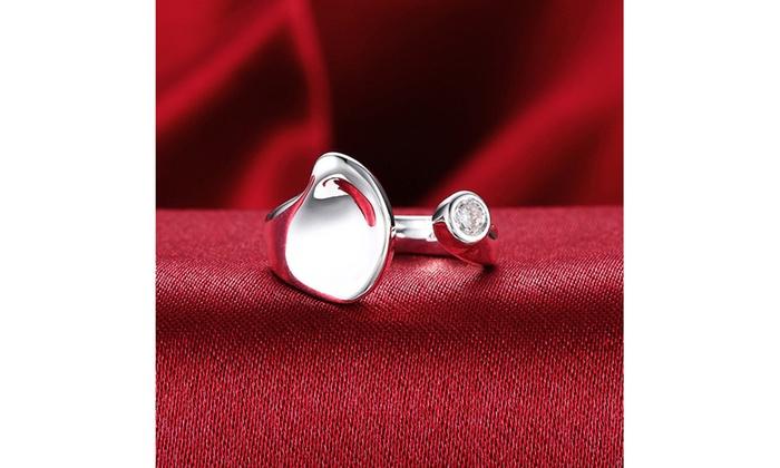 Sterling Silver Swarovski Gem Adjustable Ring Groupon