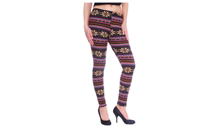 c836d4109f455b Women's Nordic Snowflake Reindeer Knitted Fleece Lined Leggings ...