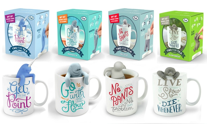 Two For Tea Slow Brew Tea Infuser /& Mug Coffee Gift Set By Fred and Friends NEW