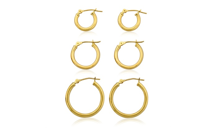 3 Pairs 10k Solid Gold Polished Clip Hoop Earrings Set
