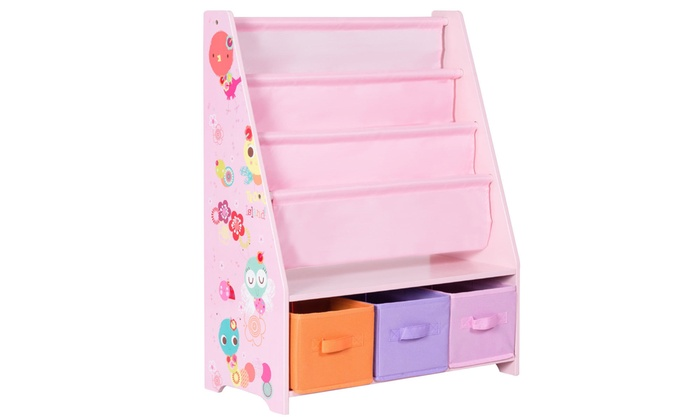 Bookshelf Bookcase And Toys Organizer Shelves W 3 Free Storage Boxes