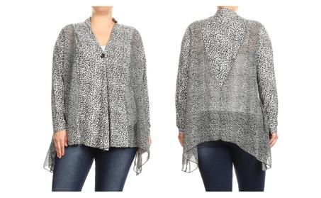 Women Plus Size Leopard Print Long Sleeve Loose Fit Cardigan Vest Top 566806f9-33c2-4b10-992c-bb3f926ea86e