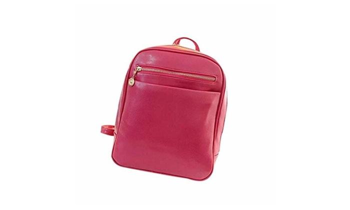 Women Girls Leather Backpacks School Shoulder Bag Travel Satchel – Black / One Size