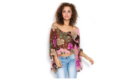 Floral Sheer Poncho Top 3bd80b45-a662-40f3-8c86-0dafcb0a7312