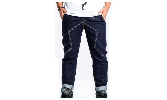 Men's Mid Rise Solid Casual Straight Leg Loose Fit Jeans