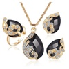 Rhinestone Peacock Gold Color Pendant Earring Women's Ring Set