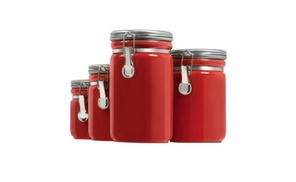 Anchor Hocking 03923RED Ceramic Canister Set, Red