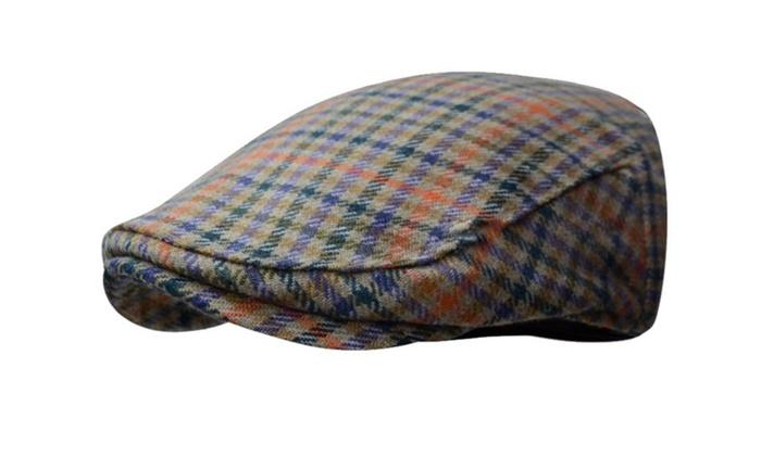 b9d6800c6e3 Wool Tweed Plaid Ivy Winter Cap Hat Golf Flat Cabbie Newsboy
