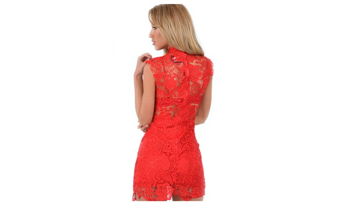 c9c88705a Women High Nck Sleveless Short Length Lace Dress - KMWD087-KMWD086-085
