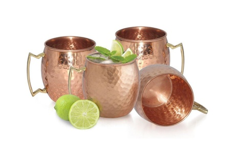 Copper Moscow Mule 4 Mug Drinking Cup Kitchen Bar Set 225dfa17-5788-455f-a4b9-dd407813c491