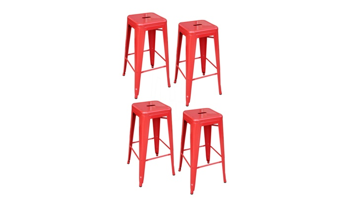 Phenomenal Amerihome 4 Piece 30 Inch Metal Bar Stool Set Red Inzonedesignstudio Interior Chair Design Inzonedesignstudiocom