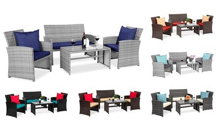 4-Piece Wicker Patio Conversation Furniture Set