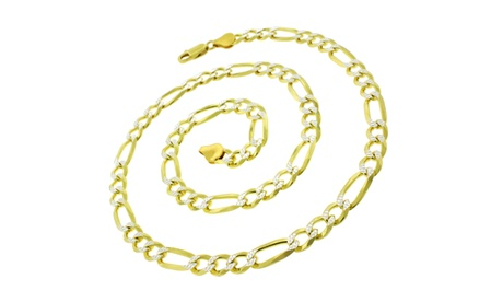 Italian Pave Figaro Chain in 14kt Gold Over Sterling Silver by Paolo Milano 68af0bf8-5371-4cc1-9320-46318635a747