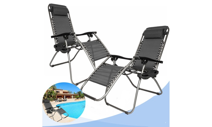 2 Pack Folding Recliner Zero Gravity Chaise Lounge Chair W Cup Holder