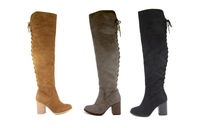 Aspen Straight High Knee Boot w/ Tall Block Heel
