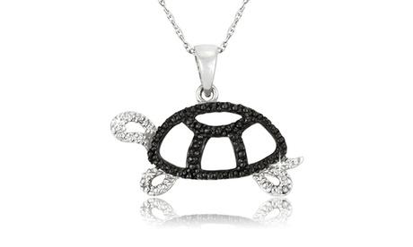 Black Diamond Accent Turtle Pendant in Sterling Silver - CPS20535 a00ead21-7e32-4965-aefb-c2dc97a95c1f
