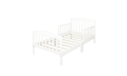 Wood Kids Bedframe Toddler Bed Children Bedroom W/safety rail Fence