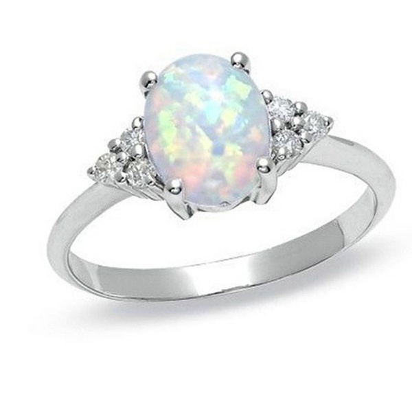 Fire Oval Opal Cushion Cut Engagement Ring For Women Girls Birthday Gift