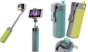 4-in-1 Wireless Selfie Stick, Bluetooth Speaker, Phone Mount and Power Bank