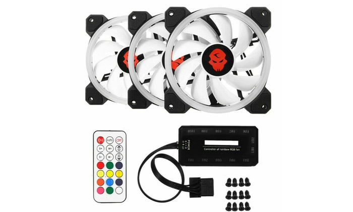 3-Pack LED Cooling Fan 120mm 12V RGB Remote Control For Computers Case PC CPU