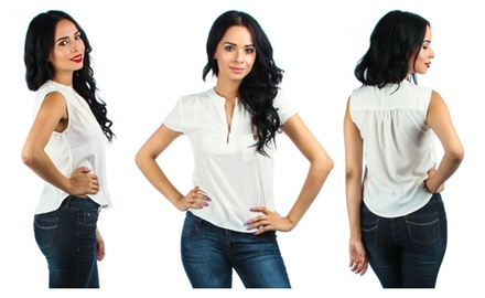 V Neck Top With Front Pocket And Leopard Button