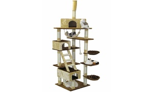 """GoPetClub 92"""" Beige and Brown Cat Furniture Condo Tree"""
