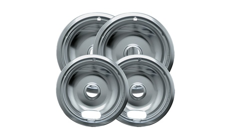 Range Kleen 10124XN Style A 4-Pack Drip Pans, Chrome photo