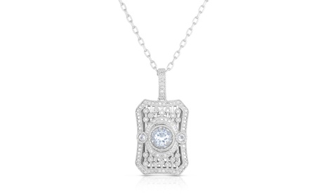 1/7cttw White Topaz Antique Style Pendant in Sterling Silver 5a0e3eae-4649-4869-b581-bc556043628f