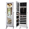 Premium Wooden Jewelry Armoire Cabinet with Cheval Mirror and Lock
