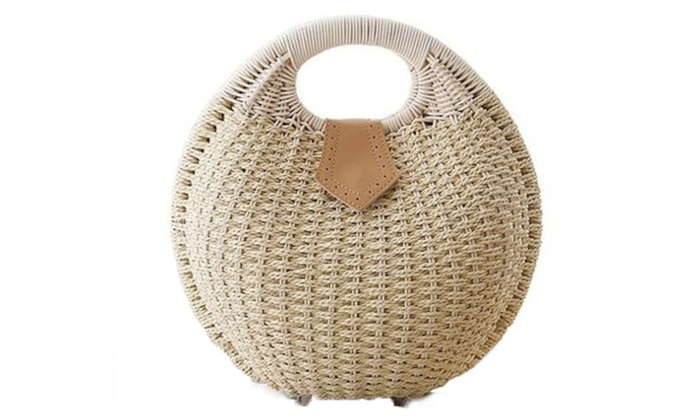 Womens Round Small Wicker Handbag