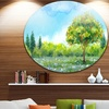 Tree in Spring' Disc Watercolor Painting Landscape Circle Metal Wall Art