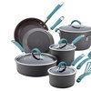 Rachael Ray Cucina Hard-Anodized Nonstick Cookware Set 12pc Gray Agave Blue