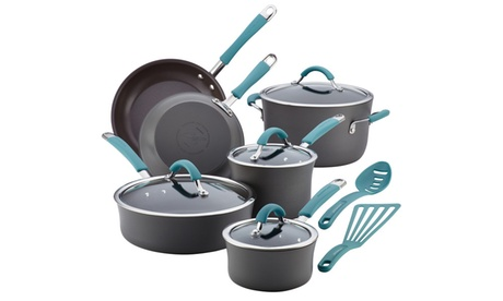 Rachael Ray Cucina Hard-Anodized Nonstick 12pc Cookware Set 7e536bb9-170a-4122-9bb3-87c884319012