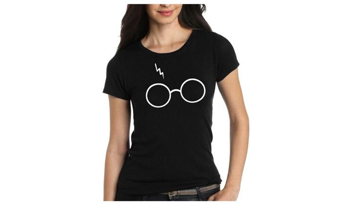 56650ff75426 Women Harry Potter Glasses Cute Print Short Sleeve Crew Neck T-shirts