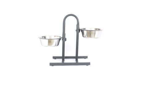 Adjustable Stainless Steel Pet Double Diner for Dog (U Design) - 5 Qt - 160 oz 10a9a7e1-2839-468e-9950-5e78b14b3a6b