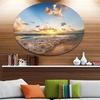 Sunrise on Beach of Caribbean Sea' Large Seashore Metal Circle Wall Art