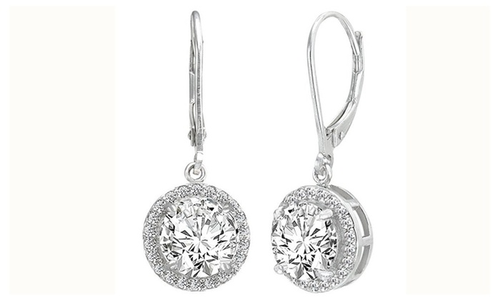 c8b5e2d52 925 Sterling Silver Elegant Round CZ Prong Setting Dangle Earrings | Groupon
