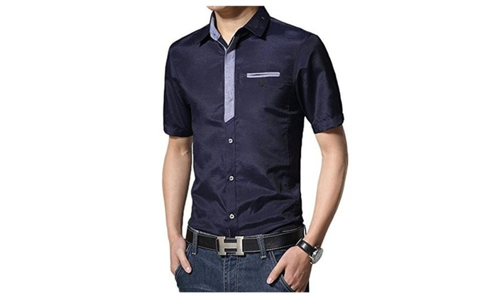 Men's Plain Summer Short Sleeve Cotton Casual Button Down Shirts Contrast Color