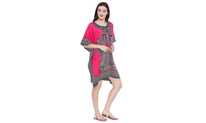 f71d8bf194bb3 Pink Short Kaftan Dress Women Digital Printed Tunic Summer Beach Kimono Top  Tank